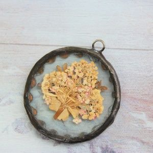 Antique Pressed Hyacinth Flower Pendant